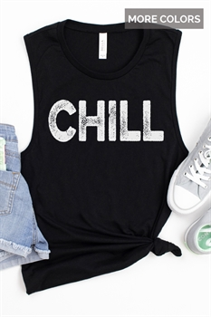 Picture of Chill Distressed Muscle Graphic Tank