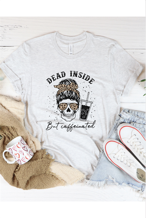 Picture of Leopard Dead Inside But Caffeinated Graphic Tee