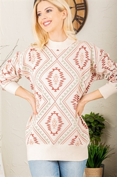 Picture of Mock Neck Aztec Sweater